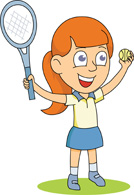 Girl with tennis racquet and ball clipart